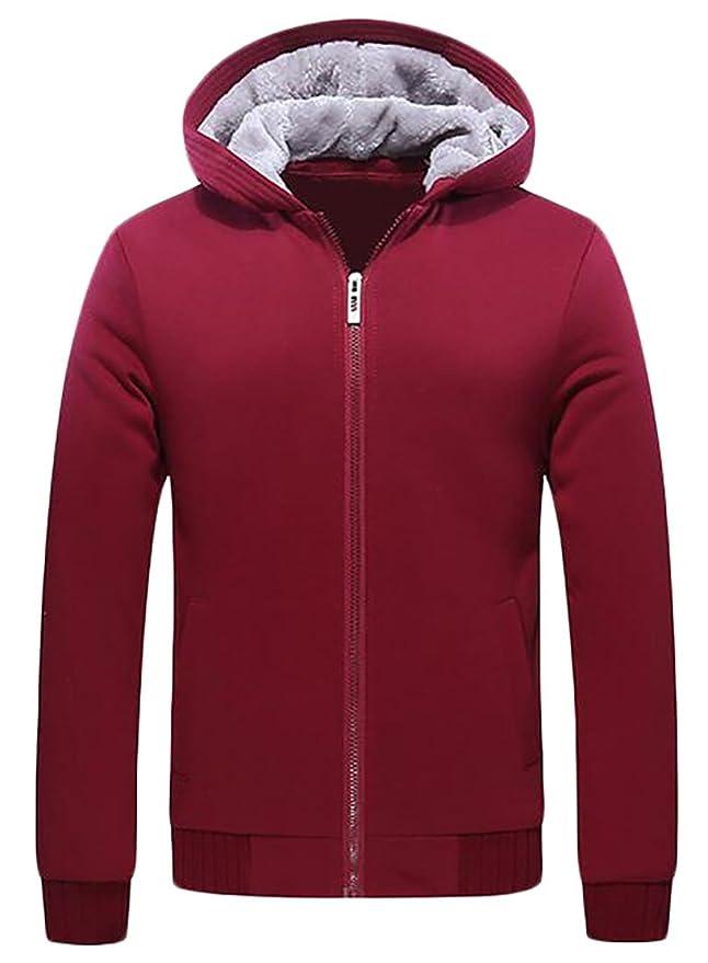 Papijam Men's Hoodie Full Zip Active Fleece Lined Solid Thick ...