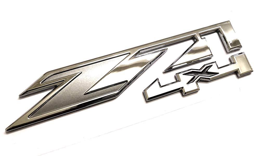 3pcs Z71 4x4 Emblems Badges Replacement for GMC Chevy Silverado Sierra Tahoe Suburban 1500 2500hd 3500hd Decal Chrome Grey Emzscar
