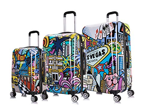 USA Cities Colorful Print 3 Piece Luggage Set