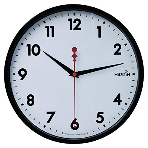 Hippih 10 Silent Quartz Wall Clock with Glass surface Non-ticking Digital,CL-2315-A