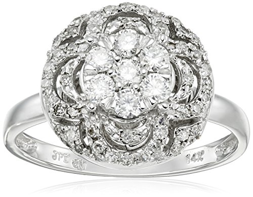 14k White Gold Circle Cluster Diamond (1/2cttw, H-I Color, I1-I2 Clarity) Ring, Size 7