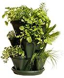 Mr. Stacky Self Watering 3 Tier Stackable Garden Vertical Plastic Planter Set,  Hunter Green