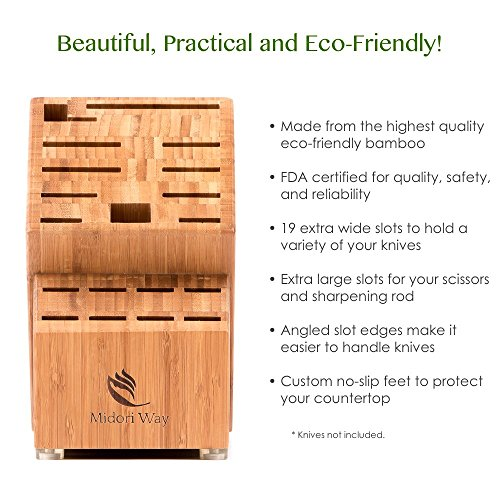 Bamboo Knife Block (Without Knives), Best For Storage Of Your Quality Cutlery. Stylish and Eco-Friendly, This Beautiful & Professional Wooden Block Will Be A Great Kitchen Addition. By Midori Way by Midori Way (Image #4)