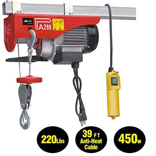 EVERDRAGON 440 LBS Power Lift Electric Hoist, Overhead Crane Commercial Industrial Chain Remote Control Power System, Winch Wire Cable Hoist Garage Auto Shop W/Remote Control (120V/460W/3.9A/60Hz) from EVERDRAGON