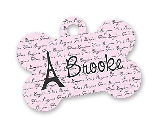 (RNK Shops Paris Bonjour and Eiffel Tower Bone Shaped Dog Tag (Personalized))