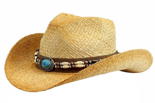 (Henschel Men's Burnished Raffia Straw Hat with Faux Turquoise Concho & Beaded Band, Raffia, X-Large)