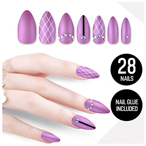 Tip Beauty Plum Purple Fake Nail Kit, Sugar Plum Fairy, Faux Nails for Women, Fake Nails for Kids, Glue on Nails, Instant Nails for Ladies False Nails with Glue - MSRP $18 by Tip Beauty