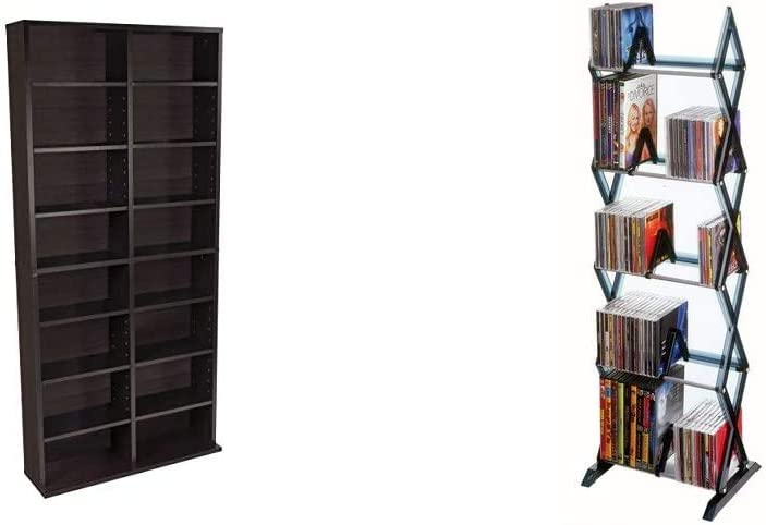 Atlantic Oskar Adjustable Media Cabinet in Espresso & Mitsu 5-Tier Media Rack - 130 CD or 90 DVD/BluRay/Games in a Space Saving, Customizable Clear Smoke Finish, PN64835195