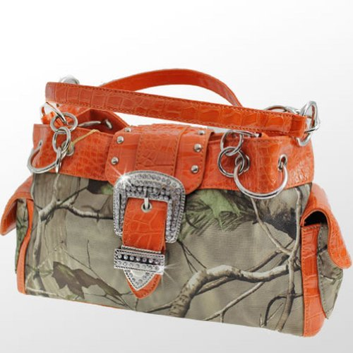 Realtree Belt Buckle Purse Camouflage Handbag Camo Orange Trim