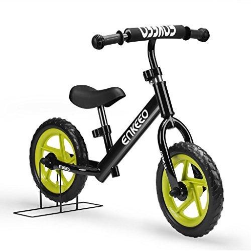 ENKEEO 12″ No Pedal Balance Bike for 2-6Years Old Kids, Carbon Steel Frame, Adjustable Handlebar and Seat, 50kg Capacity, ()