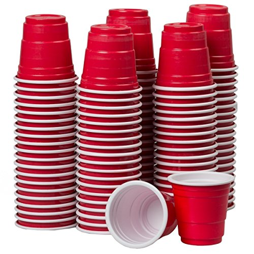 100 Mini Red Party Disposable 2oz Plastic Shot Cups. Safer #5 Plastic. Great for Fun Parties, Holidays, Birthdays, Celebrations, Jello Shots, Jager Bombs, Beer Pong, Fun Drinking Games, Snacks.]()
