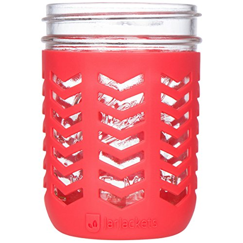 JarJackets Silicone Mason Jar Protector Sleeve - Fits Ball, Kerr 16oz (1 pint) WIDE-Mouth Jars | Package of 3 (Poppy) … -  43219-77529