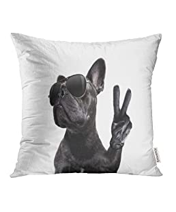 "Emvency Throw Pillow Cover Case Cool Posing French Bulldog with Sunglasses Looking Up Like Model with Peace Victory Print Decorative Pillowcase 18""x18""(45cmX45cm) Case Cushion Cover for Bed Couch"