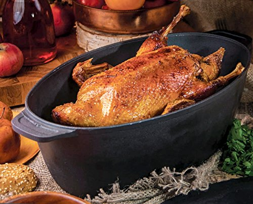 Cast Iron Covered Oval Roaster with Lid 6 L 6.3-qt. Cast Iron Oval Fryer