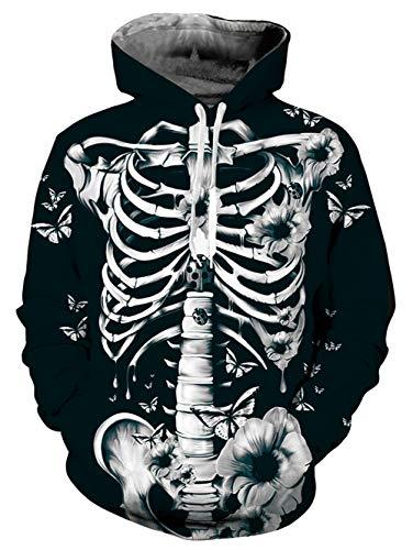 Men's Skeleton Halloween Hoodie Sweatshirt (UNIFACO Men Women Halloween Hoodies Skeleton Costume Bones Butterfly Ladybug Printed Long Sleeve Sweatshirt (US)