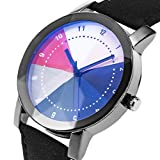 Unique Rainbow Multi-Color Dial Diamond-Shape Front Glass Design SIBOSUN Black Leather Men Wrist Watch