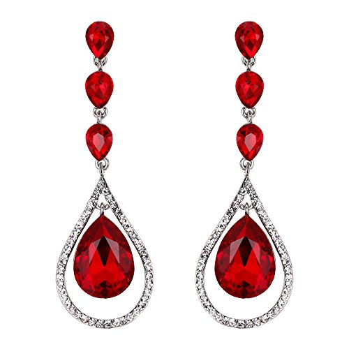 EVER FAITH Austrian Crystal Bridal Hollow-out Teardrop Pierced Dangle Earrings Red Silver-Tone