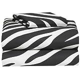 Extra Long Egg Crate Mattress Pad Campus Linens Zebra 3 Piece Twin XL Sheet Set for College Dorm Bedding