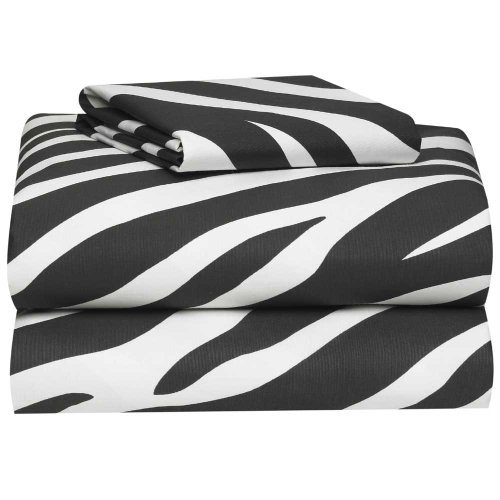 (Campus Linens 300 Thread Count Zebra 3 Piece Twin XL Sheet Set for College Dorm Bedding)