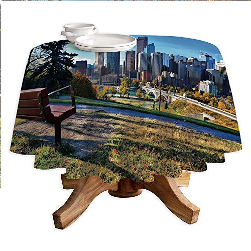 City Round Polyester Tablecloth,Park Bench Overlooking The Skyline of Calgary Alberta During Autumn Tranquil Urban,Dining Room Kitchen Round Table Cover,70