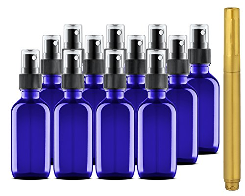 2 oz Blue Glass Bottles with Spray Tops and Gold Glass Pen ()