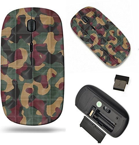 (MSD Wireless Mouse Travel 2.4G Wireless Mice with USB Receiver, Noiseless and Silent Click with 1000 DPI for notebook, pc, laptop, computer, mac book design: 13972009 Quilted Camouflage Seamless Textu)