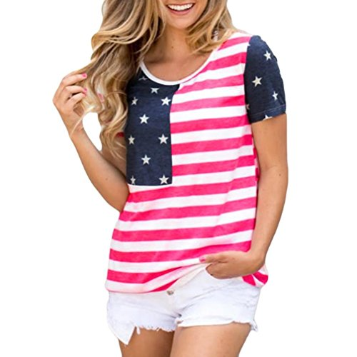Branded American Flag (vermers Womens Tops Short Sleeve O-Neck T Shirt Star Stripes American Flag Print Blouse (L, Red))