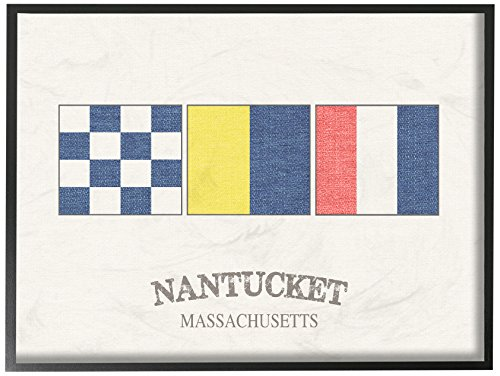 The Stupell Home Décor Collection Nantucket Nautical Flags Framed Giclee Texturized Art 11 x 14