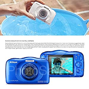 Nikon COOLPIX W100 Digital Camera (Blue) Basic Bundle with Floating Strap + 16 GB +Tripod + SD/SDHC Reader + Battery + Case + FiberTiqueCleaning Cloth from Photo Savings