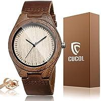 cucol Correa de piel vacuna de los hombres, madera de nogal de madera caso cuarzo analógico reloj de pulsera con caja de regalo