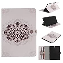 """Samsung TAB S2 T715 8"""" Case, Unique Art Paint Wallet Movie Stand Thin Cover[Money Credit ID Card Slots] TAITOU Cool Soft PU Leather Light Tablet Coque For Samsung TAB S2 T715 8"""" White Totem Flower"""