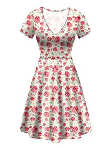 Xinind Women's Vintage Floral Flower Puffy Swing Casual Party Dress V-Neck Short Sleeve Midi Dress