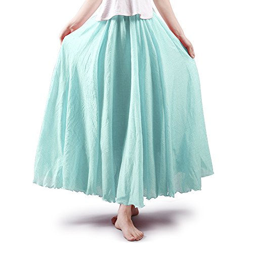Mesinsefra Women's Bohemian Style Elastic Waist Band Cotton Long Maxi Skirt Dress Water Blue 85CM Length