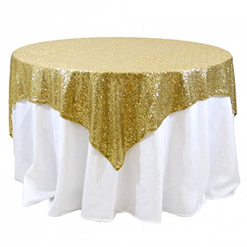 Koyal Wholesale 405004 Square Sequin Tablecloth, 72 by 72-Inch, Gold]()