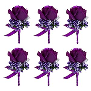 JaosWish 6PCS Flower Men Boutonniere Handmade Silk Men Corsage for Groom Wedding Party Suits Purple 63