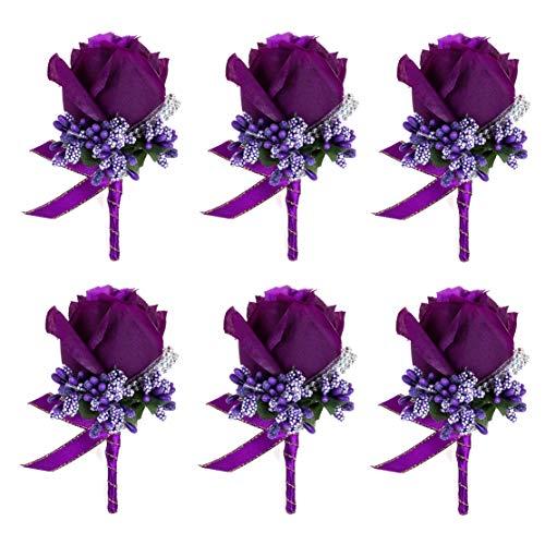 - JaosWish 6PCS Flower Men Boutonniere Handmade Silk Men Corsage for Groom Wedding Party Suits Purple