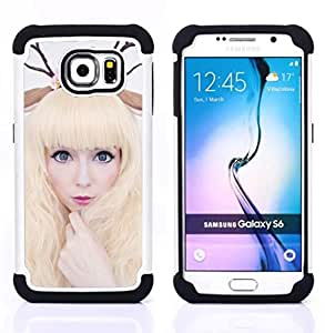Dragon Case- Dise?¡Ào de doble capa pata de cabra Tuff Impacto Armor h??brido de goma suave de silicona cubierta d FOR Samsung Galaxy S6 G9200- BLONDE FAIRY HORNS WHITE WOMAN DEER ART