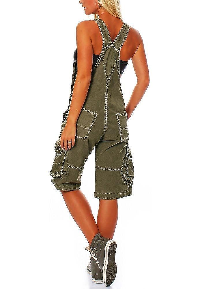 Jet Lag Damen Latzhose Overall Cargo Shorts mit Brusttasche
