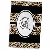 3D Rose Elegant Cheetah Animal Print Monogram Letter R TWL_180687_1 Towel, 15'' x 22''