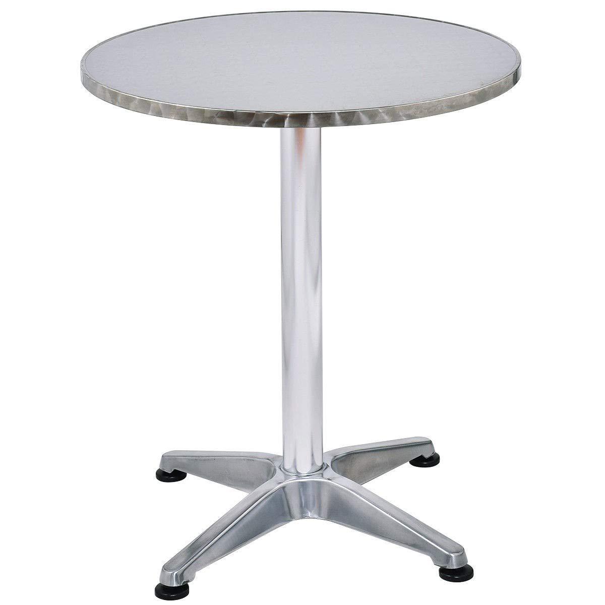 EnjoyShop 23 1/2'' Stainless Steel Aluminium Round Cafe Bistro Table Table Light-Weight Waterproof Outdoor Restaurant Metal