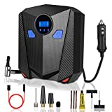 Air Compressor Tire Inflator, 255PSI Quick Portable Pressure Pump with Extension Cord and Tire Plug Kit for Cars, SUV, Small Trucks, Bicycles, Balls, Other Inflatables with Carry Case