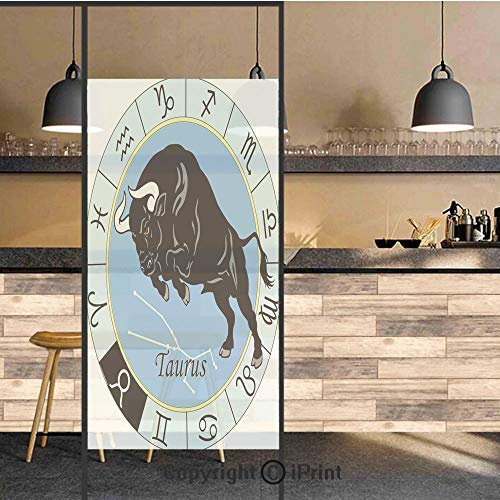 (3D Decorative Privacy Window Films,Zodiac Calendar with Bull inside Celestial Creature Character Esoteric Print,No-Glue Self Static Cling Glass film for Home Bedroom Bathroom Kitchen Office 24x36 Inch)
