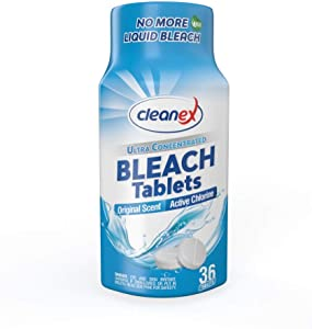 Cleanex Bleach Tablets, New Advanced Formula Ultra Concentrated Water-Soluble Bleach Tablets for Laundry and Multipurpose Cleaning 36 Tablets No Phosphate NO More Liquid Bleach! (Original)