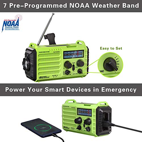 Rocam Emergency Hand Crank Portable Radio Solar Power AM/FM/SW/NOAA Weather Radio with 2000mAh Power Bank Phone Charger, 3W LED Flashlight, Reading Lamp, 7 Weather Band, SOS Alarm and Compass (Green)