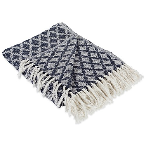DII Modern Moroccan Cotton Blanket Throw with Fringe For Chair, Couch, Picnic, Camping, Beach, & Everyday Use , 50 x 60