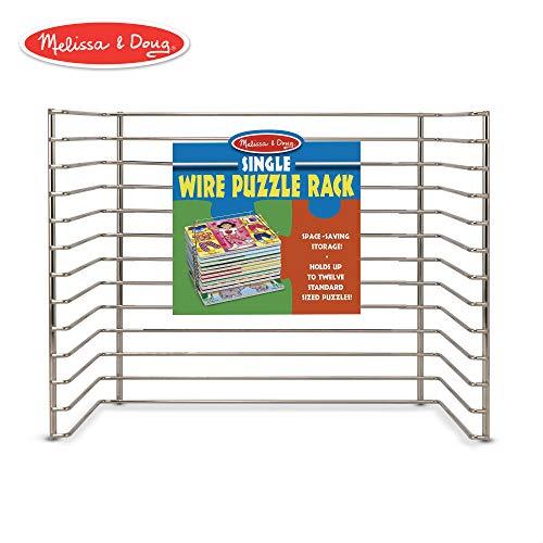 (Melissa & Doug Wire Puzzle Storage Rack (Arts & Crafts, Sturdy Metal Construction, Pre-Assembled, Peg Puzzle Storage, 8.5