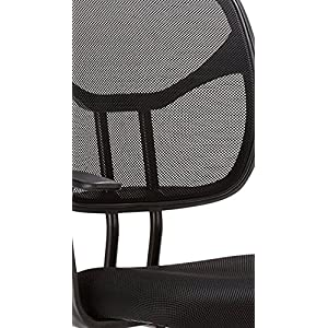 AmazonBasics Classic Leather-Padded Mid-Back Office Desk Chair with Armrest – Black, BIFMA Certified