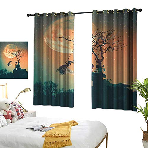 Anzhutwelve Blackout Curtains Fantasy World,Spooky Night Zombie Bride and Groom Lady on Swing Under Starry Sky Full Moon,Orange Teal W63 x L45 Living Room Drapes -