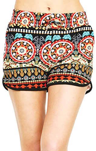Printed Brushed Casual Summer Shorts (Exotic Fusion, Medium/Large)
