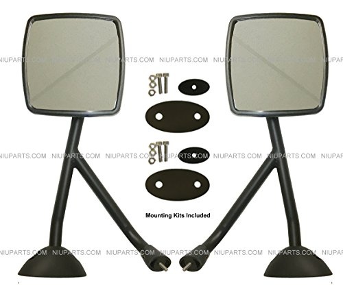 Hood Mirror Black with Arm and Mounting Kits – Driver & Passenger Side (Fits International DuraStar 4300)